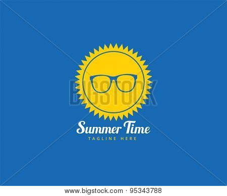 Abstract vector logo element. Sun, star, summer time, glasses and holiday. Stock illustration for design