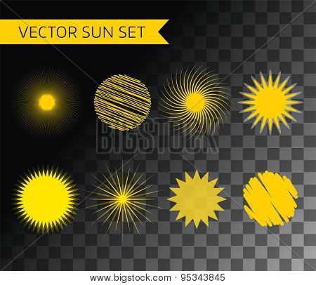 Abstract vector logo element. Sun, set, summer and holiday. Stock illustration for design