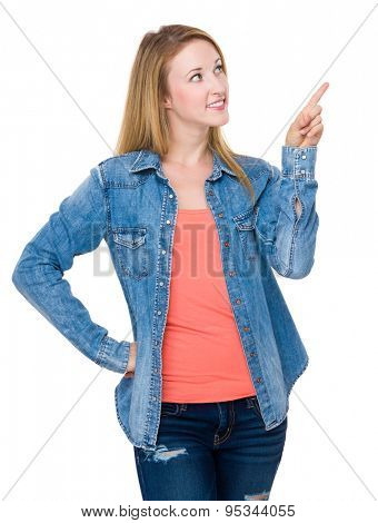Young woman touch on the imaginary button