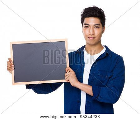 Asian mixed Indian man show with blackboard