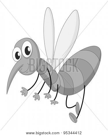 Happy mosquito flying in black and white