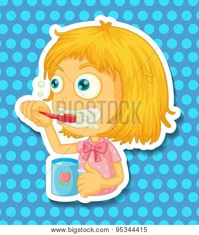 Girl with the cup brushing her teeth