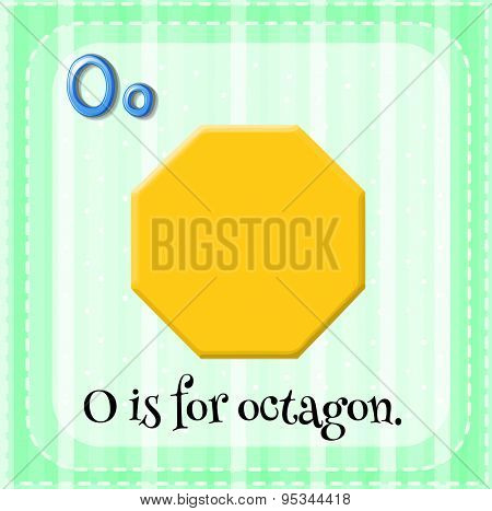 Flashcard letter O is for octagon