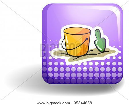 Yellow bucket and spoon on purple icon