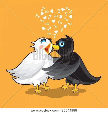Couple of Birds. Black Bird Kissed White Bird
