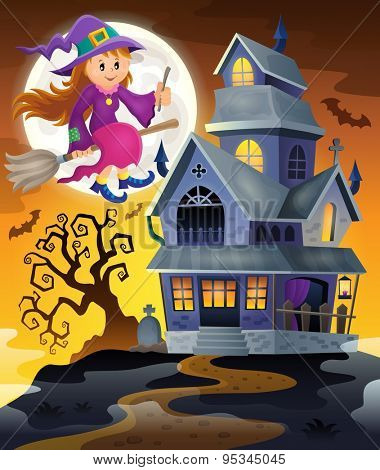 Image with haunted house thematics 9 - eps10 vector illustration.