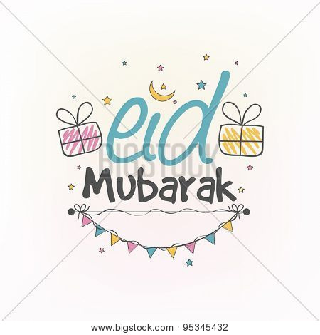 Elegant greeting card design decorated with gifts, crescent moon, stars and buntings for Muslim community festival, Eid celebration.