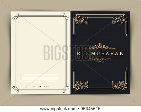 Floral design decorated greeting card design for Muslim community festival, Eid Mubarak celebration.