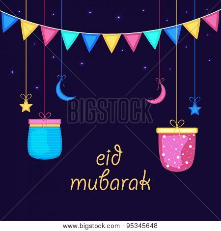 Elegant greeting card design decorated with shiny hanging gifts, crescent moons and stars on colorful buntings decorated background for Islamic festival, Eid celebration.