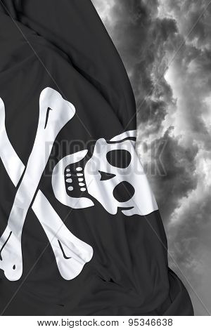 Pirate waving flag on a bad day