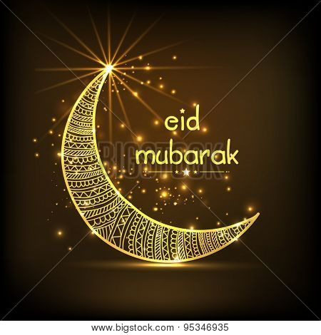 Beautiful greeting card or invitation card with golden floral decorated crescent moon on shiny brown background for muslim community festival, Eid Mubarak celebration.