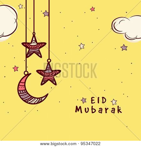 Elegant kiddish greeting card design decorated with hanging crescent moon and stars on yellow background for holy Islamic festival, Eid celebration.
