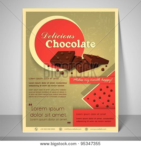 Stylish menu for delicious chocolate with address bar, place holder and mailer.