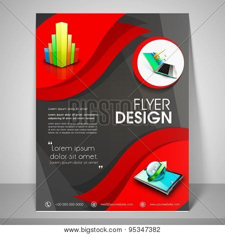 Abstract flyer design for business with images of laptop, globe, address bar, place holder and mailer.