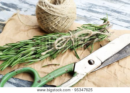 Rosemary sprigs with rope and scissors on parchment on wooden table, closeup