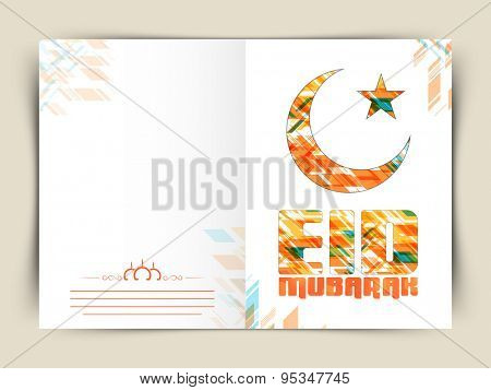 Muslim community festival, Eid Mubarak celebration greeting card with creative crescent moon and star.