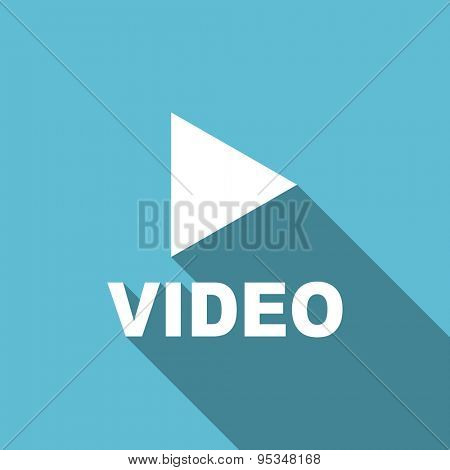 video flat icon  original modern design flat icon for web and mobile app with long shadow