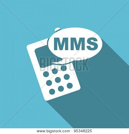 mms flat icon phone sign original modern design flat icon for web and mobile app with long shadow