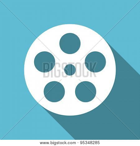 film flat icon  original modern design flat icon for web and mobile app with long shadow