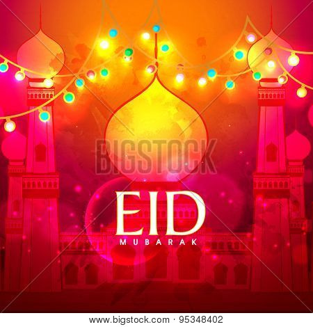 Beautiful mosque with colorful lights and crescent moon on grungy background for holy festival of Muslim community, Eid Mubarak celebration.