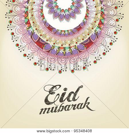 Beautiful floral design deorated greeting card for holy festival of Muslim community, Eid Mubarak celebration.