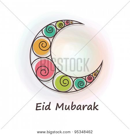 Colorful spiral decorated crescent moon for muslim community festival, Eid Mubarak celebration.