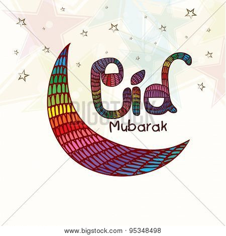 Colorful creative crescent moon on stars decorated background for muslim community festival, Eid Mubarak celebration.