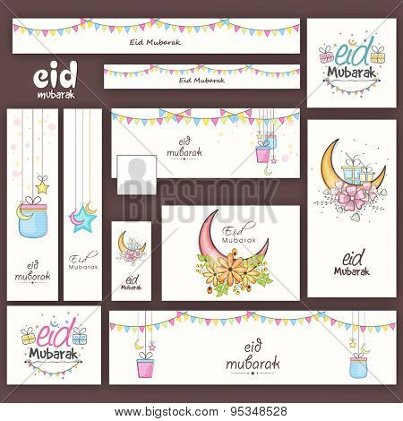 Muslim community festival, Eid Mubarak celebration social media ads, headers, banners or post.