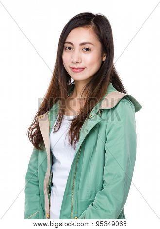 Asian woman wear with raincoat