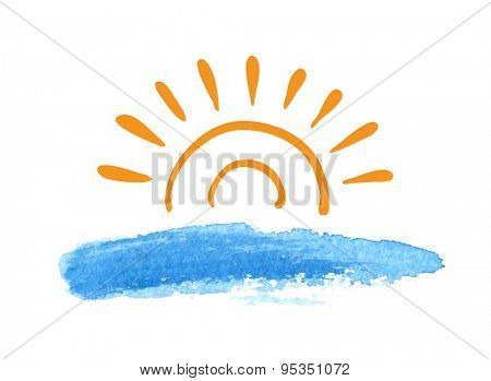 Sunrise over the water, vector logo illustration