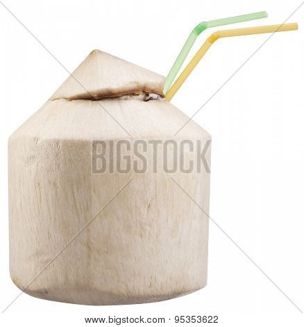 Coconut water in the nut. File contains clipping paths.