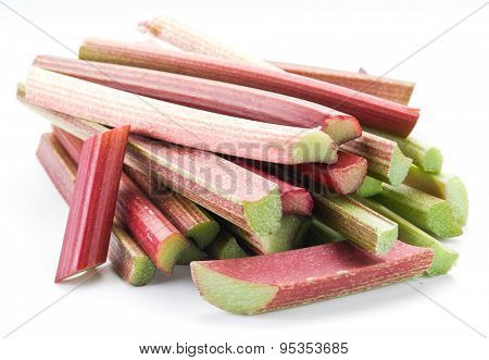 Rhubarb stalks on the white background.