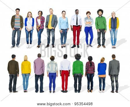 Group of Diverse People Front and Back View
