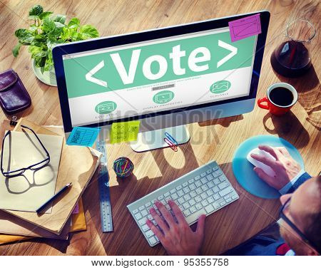 Digital Online Vote Democracy Politcs Election Government Concept