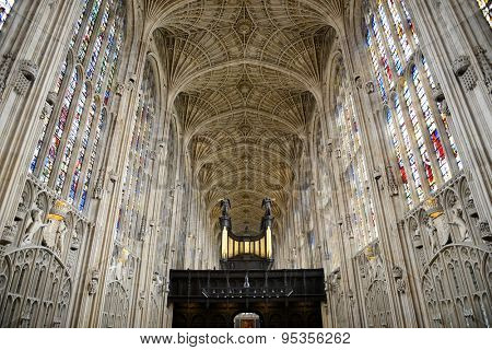CAMBRIDGE, ENGLAND - MAY 13: Interior of Kings College Chapel Looking Up at Worlds Largest Fan Vault Ceiling with View of Organ in Foreground, University of Cambridge, England on May 13, 2015