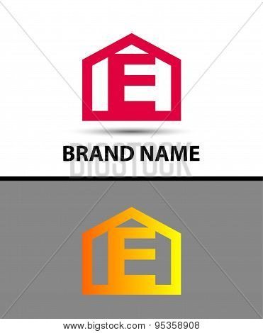 Letter e logo with home icon