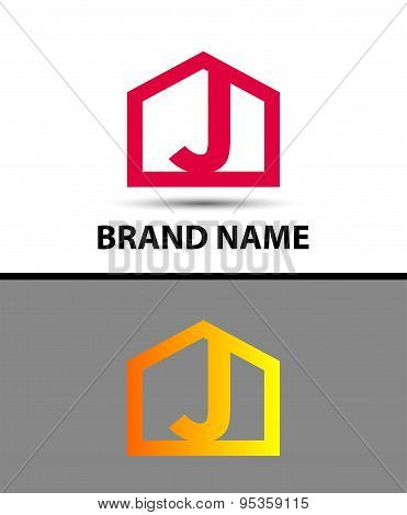 Letter j logo, real estate symbol