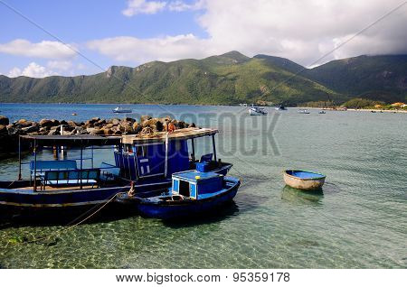 Boats in wharf in Condao island, Vietnam