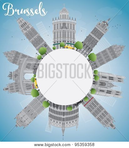 Brussels skyline with grey building, blue sky and copy space. Vector illustration