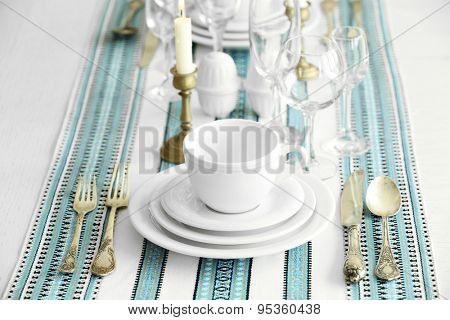 Beautiful table setting with vintage silverware