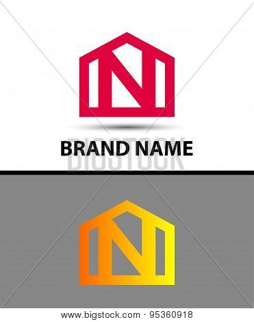 Letter N logo, real estate symbol