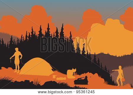 Illustration of a couple setting up camp in a wilderness area at dusk