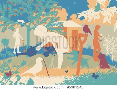 Colorful cutout illustration of a family gardening with puppies and wildlife