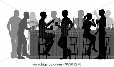 Cutout illustration of people drinking in a busy bar