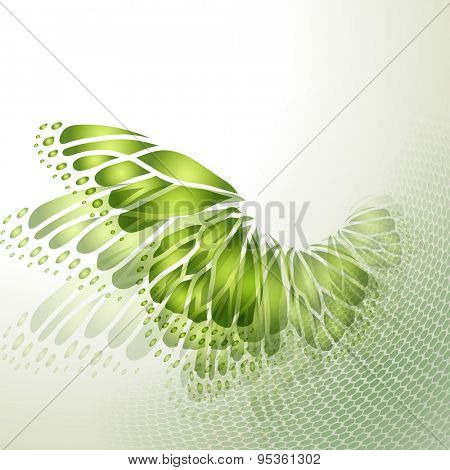 Abstract green background with butterfly wings
