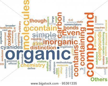 Background concept wordcloud illustration of organic compound