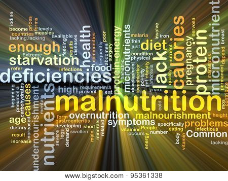 Background concept wordcloud illustration of malnutrition glowing light