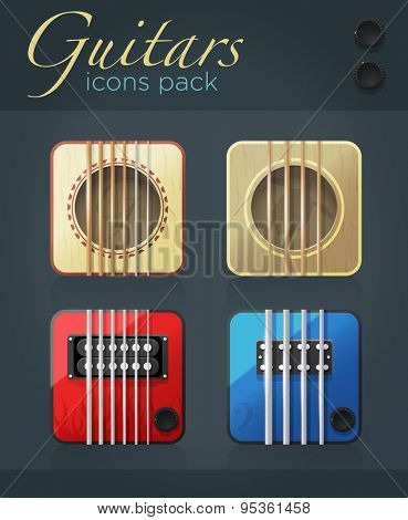 Vector set of guitar icons for music software, acoustic and electric musical instruments, eps10