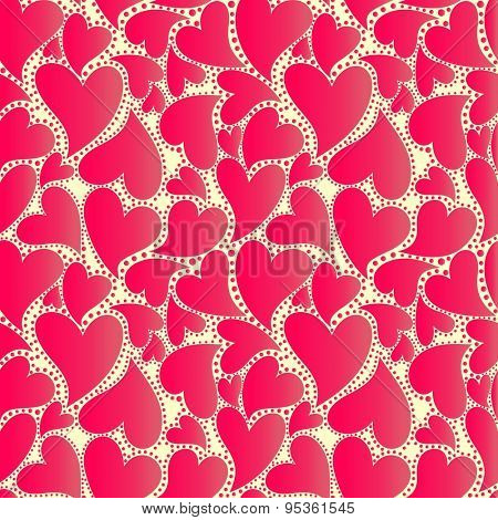 Abstract wrapper with red hearts