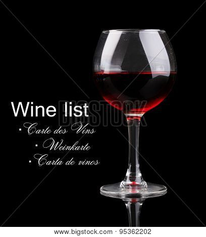 Wineglass on black background